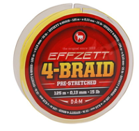 Шнур D.A.M. Effzett 4-BRAID 125m 0,20mm 9,9kg (yellow)